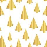 Contexte sans couture de modèle de vecteur d'arbre de Noël de feuille d'or Arbres de Noël d'or brillants de griffonnage de textur illustration de vecteur