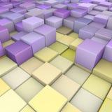 Contexto 3d abstrato no roxo amarelo Fotografia de Stock