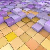 Contexto 3d abstrato no roxo do amarelo alaranjado Imagens de Stock