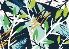 Contexto abstracto horizontal con el matorral del bosque, las ramas de árbol, las hojas, las manchas blancas /negras coloridas y  Imagen de archivo