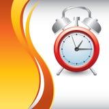 Contexto anaranjado vertical de la onda con el reloj de alarma ilustración del vector
