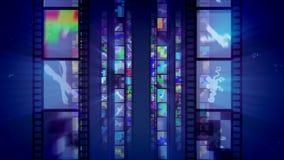 Contexto azul brillante de la película retra ilustración del vector