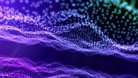 Contexto azul de la pendiente de las partículas luminosas oscilantes que forman ondas ilustración del vector