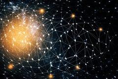 Contexto brilhante da rede de estrela Imagem de Stock