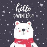 Contexto com urso, neve e texto ilustração do vetor