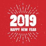Contexto con 2019, árbol de abeto y texto Feliz Año Nuevo stock de ilustración