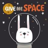 Contexto con el conejo, estrellas, luna, texto Déme el espacio ilustración del vector
