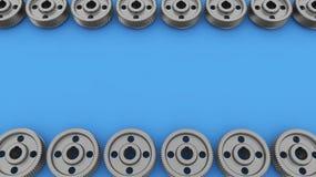 Contexto con los engranajes y las ruedas dentadas Fotografía de archivo