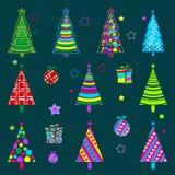 Contexto da cerceta da ilustração do inverno com as quinquilharias das árvores do ano novo Natal, testes padrões do ano novo ilustração royalty free
