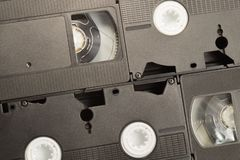 Contexto de la cinta de video fondo de los casetes VHS fotografía de archivo libre de regalías