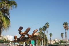 Contexto de la escultura de Gambrinus, Barcelona Foto de archivo
