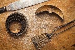 Contexto de la hornada del vintage con la harina Imagenes de archivo