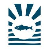 Contexto de los rayos de Sun con el icono de los pescados stock de ilustración