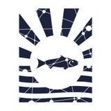 Contexto de los rayos de Sun con el icono de los pescados ilustración del vector