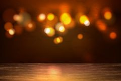 Contexto de madeira vazio das luzes do bokeh da tabela do vetor fotos de stock