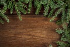 Contexto de madera rústico de la Navidad con las ramas imperecederas Fotos de archivo libres de regalías