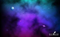 Contexto do cosmos Gal?xia colorida com planeta e as estrelas de brilho Fundo do espa?o com Via L?tea e stardust real?stico ilustração royalty free