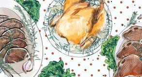 Contexto do jantar de Natal ilustração stock