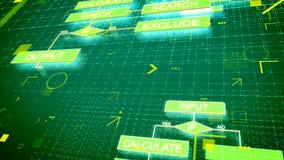 Contexto electrónico de los algoritmos con los gráficos verdes libre illustration
