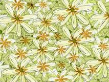 Contexto floral del modelo hawaiano verde y anaranjado Fotos de archivo libres de regalías