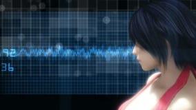 Contexto futurista de alta tecnología con la mujer