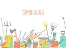 Contexto horizontal moderno con el borde de las herramientas que cultivan un huerto en la parte inferior en el fondo blanco Equip libre illustration