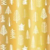 Contexto inconsútil del modelo del vector del árbol de navidad de la hoja de oro Árboles blancos del garabato en fondo de oro bri stock de ilustración