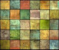 Contexto múltiplo abstrato do teste padrão do grunge da telha do quadrado da cor Imagens de Stock