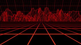 Contexto olográfico rojo del movimiento del ambiente de la rejilla de Tron ilustración del vector