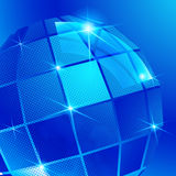 Contexto pixilated plástico com 3d objeto esférico lustroso, refl Foto de Stock Royalty Free
