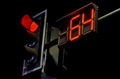 Conti alla rovescia il tempo della luce rossa e dell'orologio Fotografia Stock Libera da Diritti
