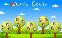 Contiamo a quindici con frutta e l'albero illustrazione vettoriale