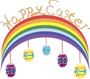 Contiene la imagen de la bandera de Pascua con las flores y los huevos Imagen de archivo libre de regalías