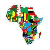 Continent of Africa. The continent of Africa made up from country shaped flags of all the african nations Stock Photography