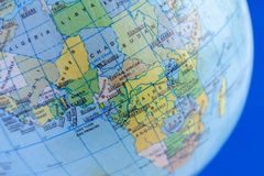 The continent Africa on the political map of th. Close-up view of the continent Africa on the political map of the globe Royalty Free Stock Image