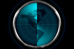 Continent of America on the Radar Screen Stock Images