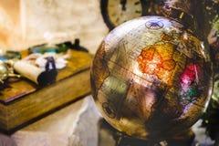 Continent antique de l'Afrique de rétro de fond de globe de cru géographie de voyage vieux photographie stock libre de droits