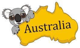 Continent Australië met koala royalty-vrije illustratie