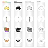 Continent Australia, Sydney tower, coral fish, cricket game. Australia set collection icons in cartoon black monochrome. Outline style vector symbol stock Stock Images