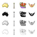 Continent Australia, Sydney tower, coral fish, cricket game. Australia set collection icons in cartoon black monochrome. Outline style vector symbol stock Royalty Free Stock Photography