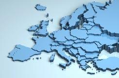 Continent d'illustration de carte de l'Europe 3D Image libre de droits