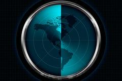 Continent de l'Amérique sur l'écran radar Images stock