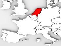 Continent de l'Europe de carte de l'abrégé sur 3D pays de Netherland Photos libres de droits