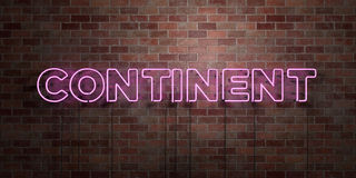 CONTINENT - fluorescent Neon tube Sign on brickwork - Front view - 3D rendered royalty free stock picture. Can be used for online banner ads and direct mailers Royalty Free Stock Image
