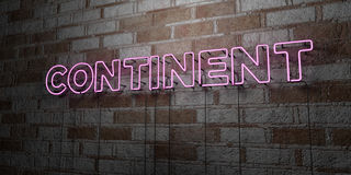CONTINENT - Glowing Neon Sign on stonework wall - 3D rendered royalty free stock illustration. Can be used for online banner ads and direct mailers Royalty Free Stock Images