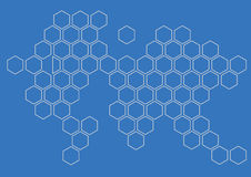 Continent hexagon background wall pattern Stock Photo