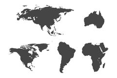 Continent maps set. On white background Royalty Free Stock Images