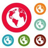 Continent op de cirkel vastgestelde vector van planeetpictogrammen royalty-vrije illustratie