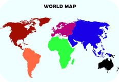 Continent world map Stock Photography