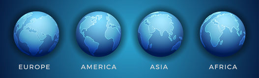 Continent Zoning on Earth. 3D World Map in Different View. Continent Zoning on Earth Stock Image